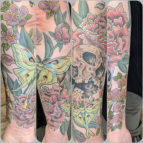 Nature and Skull Half Sleeve Tattoo by Sheila Anderson Color Crimson Empire Tattoo