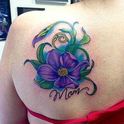 Flower And Script Tattoo By Jess Alther Color Black Gold Tattoo Co