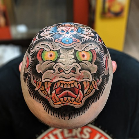 Japanese Mask Head  Tattoo by Chris Benson Color Crimson Empire Tattoo