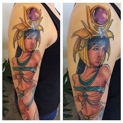Egyptian Goddess Tattoo By Chad Lavers Color Crimson Empire Tattoo