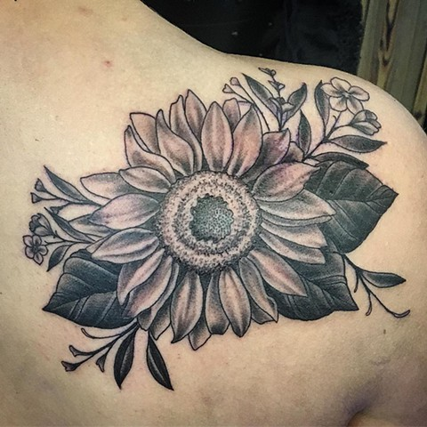 Sunflower Shoulder Tattoo By Dale Moostoos Black and Grey Crimson Empire Tattoo
