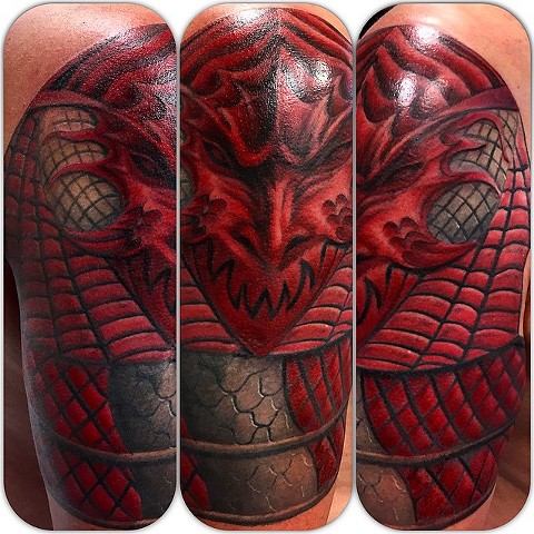 Dracula Armor Tattoo By Steve Hayes Color Black Gold Tattoo Co