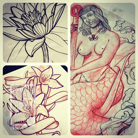 Mermaid Flowers Sketch by Chad Clothier