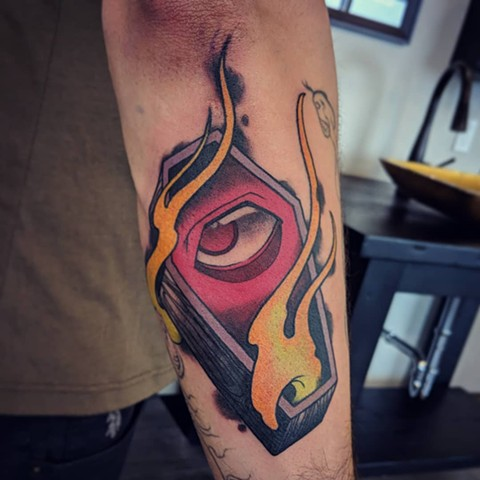 Eye In Coffin Tattoo By Landon Wierenga Color Crimson Empire Tattoo