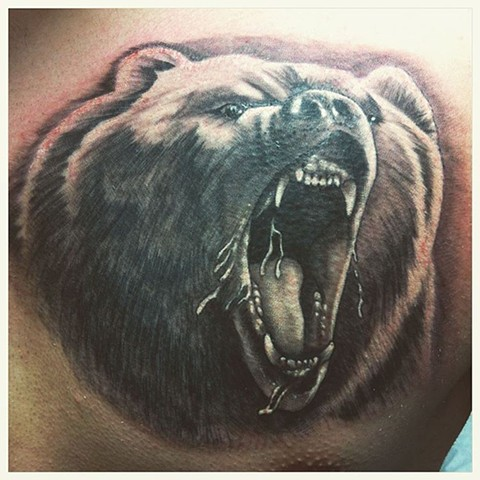 Grizzly Bear Tattoo By Kyiel Cholik Black And Grey Crimson Empire Tattoo