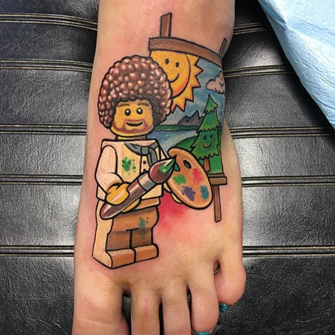 Lego Bob Ross Tattoo By Chris Labrenz Color Black Gold Tattoo Co