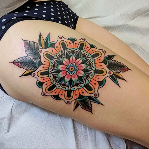 Traditional Mandala Leg  Tattoo by Chris Benson Color Crimson Empire Tattoo