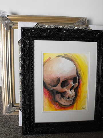 skull watercolor