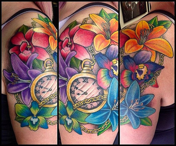 Pocket Watch With Flowers Tattoo By Jess Alther Color Black Gold Tattoo Co