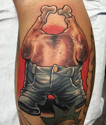 Turkey Wearing Jeans Tattoo By Marshall Khalil Color Crimson Empire Tattoo