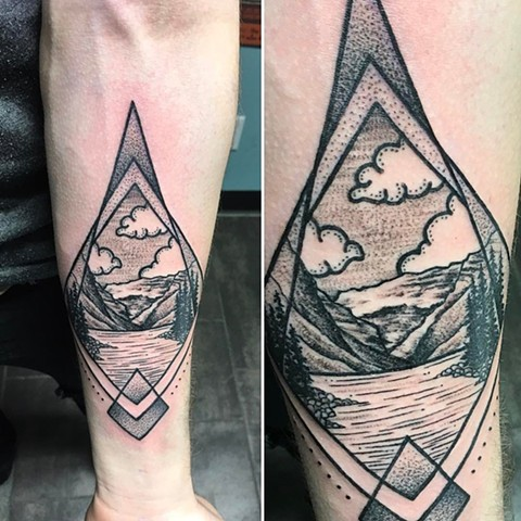 Geometric Mountain Scene Tattoo By Cheyanne Kot Pointillism Crimson Empire Tattoo