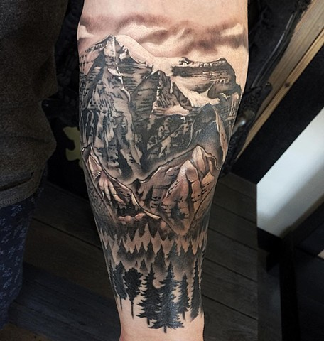 Nature Scene Tattoo By Chad Lavers Black And Grey Crimson Empire Tattoo