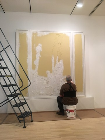 Roadstains #2: Multiple spill at Fulton and Peoria streets, Chicago, Fall 2005 / Installation process, view #2 - (artist priming the piece)