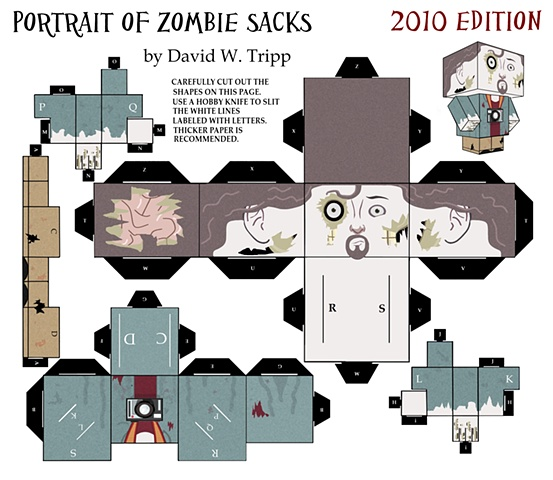 Portrait Of Zombie Sacks Papercraft Kit