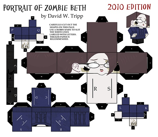Portrait Of Zombie Beth Papercraft Kit