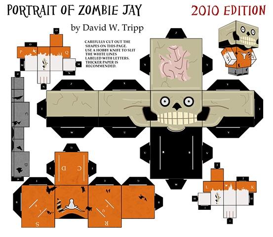 Portrait of Zombie Jay Papercraft Kit