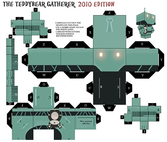 The Teddybear Gatherer Papercraft Kit Template (teddybear variant)