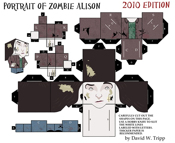 Portrait of Zombie Alison Papercraft Kit
