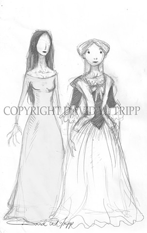 Rough Carmilla character designs