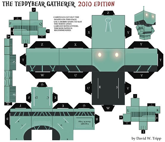 The Teddybear Gatherer Papercraft Kit Template