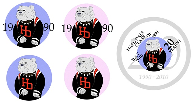 Hall-Dale Class of 1990 20th Anniversary Button Designs