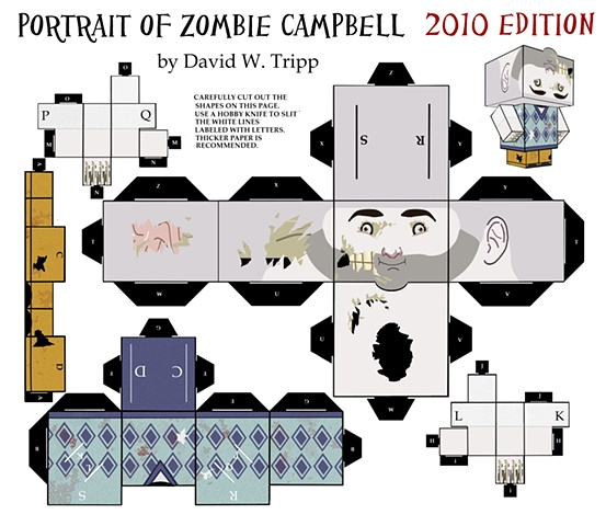 Portrait of Zombie Campbell Papercraft Kit