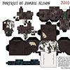 Portrait of Charcoal Zombie Alison Papercraft Kit
