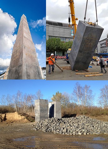 Background: Monument to Strangers and Refugees (2017) by Olu Oguibe