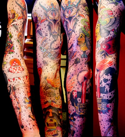 Tim's arm, various artists artwork, tattooed by myself