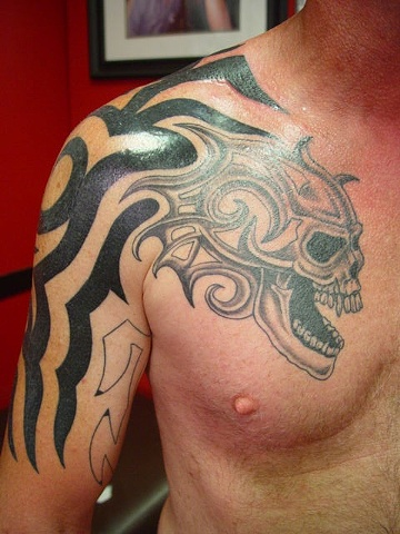 Almost Done Skull w/ custom tribal