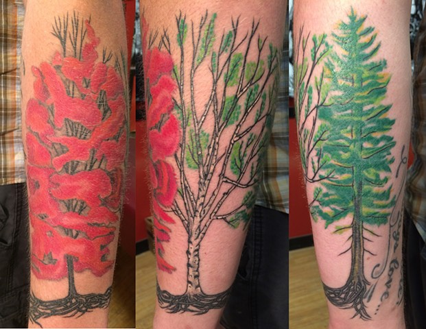 Trees around forearm, attached by roots.