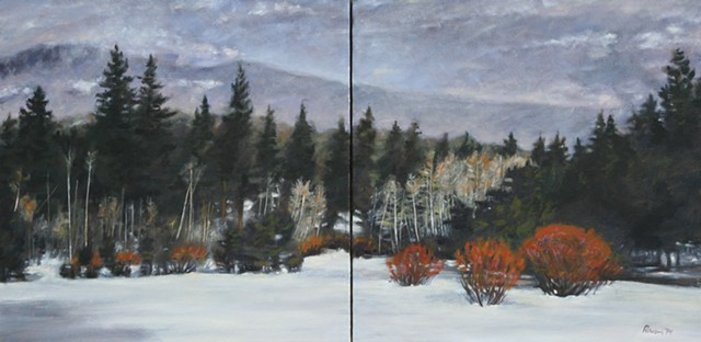 snow, winter, california, diptych, dusk, forest, Lake Tahoe, landscape, oil