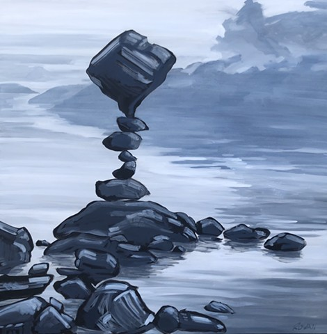Zen art, balancing rocks, rock art, original oil on canvas, landscape