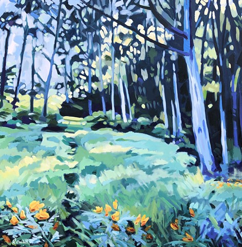 California, landscape, oil on canvas, eucalyptus grove, felds, green, blue