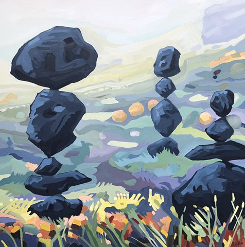 surreal, landscape, abstract, balancinig rocks, boulders, fields, flowers, zen, original oiil on canvas
