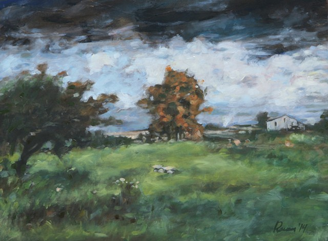 farm, countyside, fields house, trees, storm