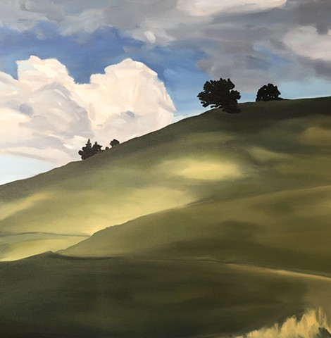 California, my Tamslpais, landscape, original oil, meadows