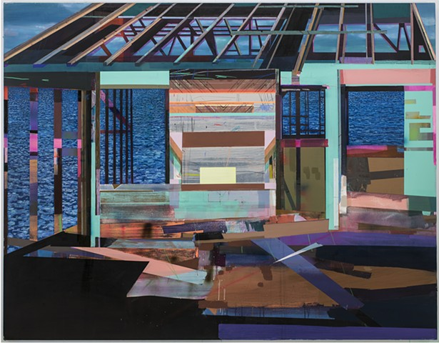 "California Cabin 59""x76"" acrylic, oil on canvas"