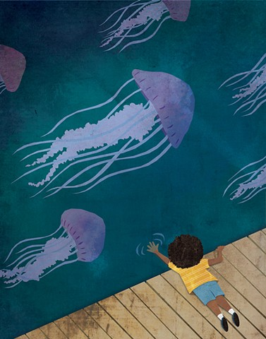 cut paper, collage, picture books, jellyfish
