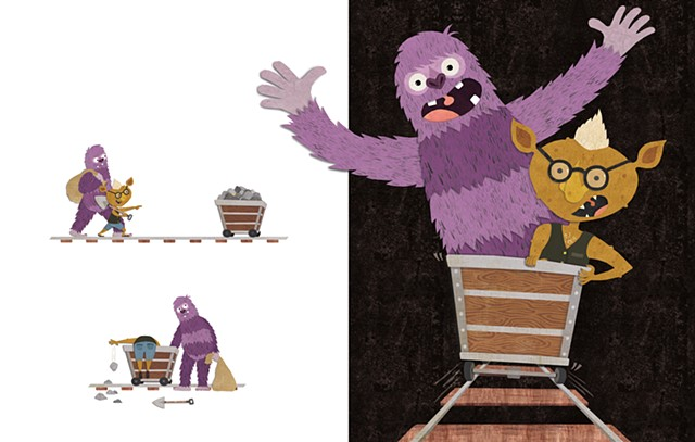 Digital collage, Sasquatch, Troll, cut paper, children's books, kid lit, gold mine