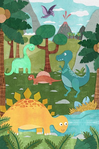 digital collage, cut paper, dinosaurs