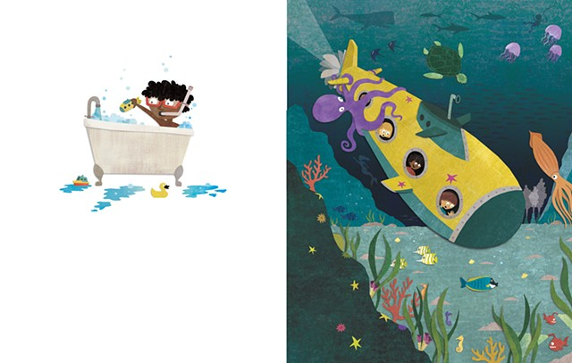 Digital collage, Bathtime, cut paper, children's books, kid lit, submarine