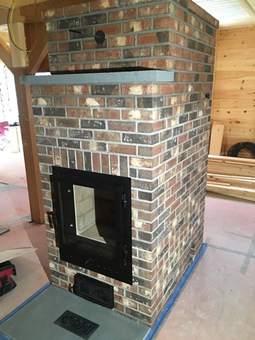 Bluestone mantle and hearth details