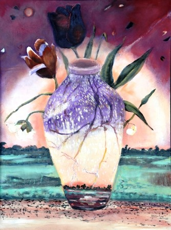 Oil painting flowers vase or urn   beauty