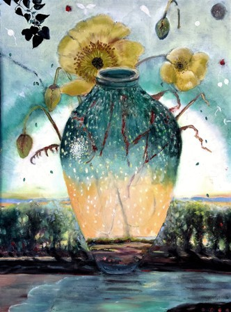 Oil Painting on Panel Flowers Eco System Vase