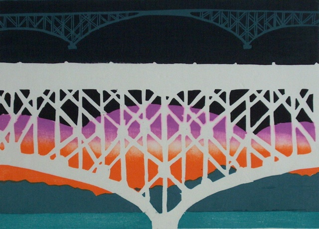 Woodblock Limited Prints Bridges Portland Oregon Willamette
