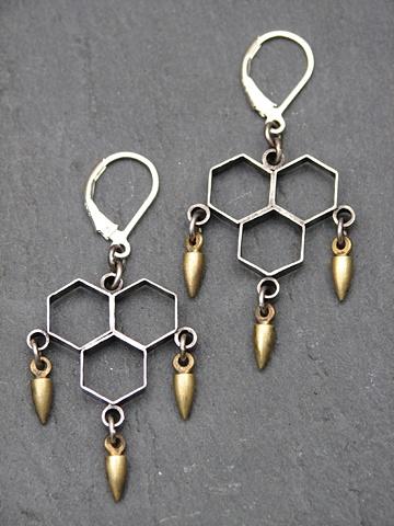 Sterling Honeycomb Spike Earrings