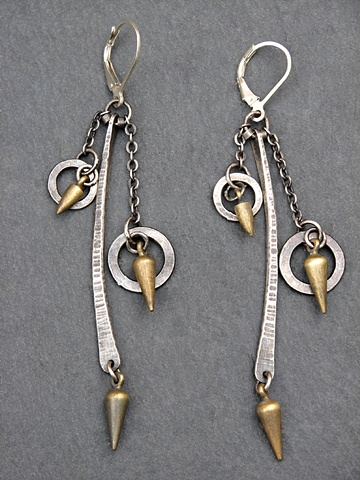 Sterling Double Circle Spike Earrings