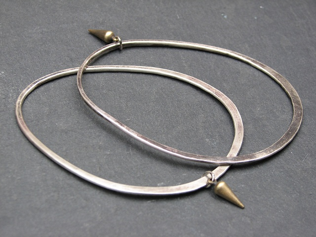 Sterling Egg Bracelets with Brass Spike