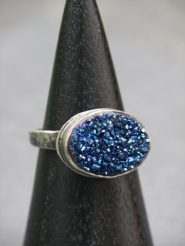 Sterling and Blue Druzy Ring